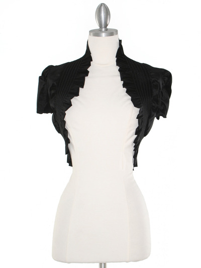 2151 Black Taffeta Bolero - Black, Front View Medium