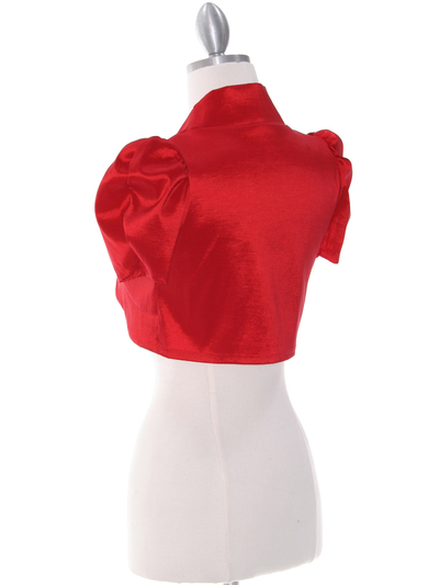 2151 Red Taffeta Bolero - Red, Back View Medium