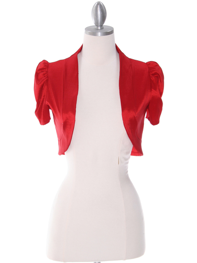 2151 Red Taffeta Bolero - Red, Front View Medium