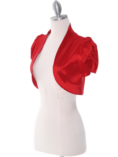 2151 Red Taffeta Bolero - Red, Alt View Medium