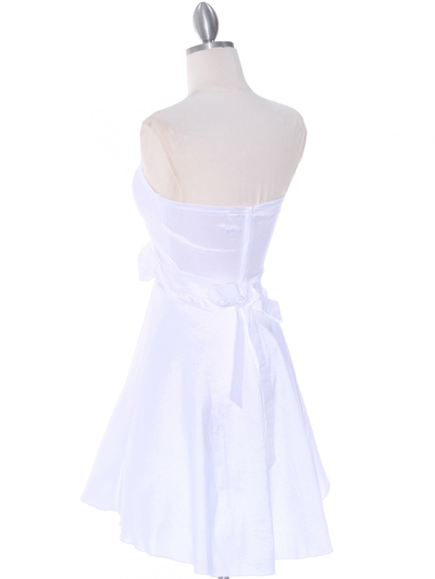 2152 Off White Taffeta Graduation Dress - Off White, Back View Medium