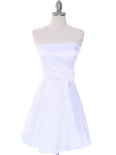 2152 Off White Taffeta Graduation Dress - Off White, Front View Medium