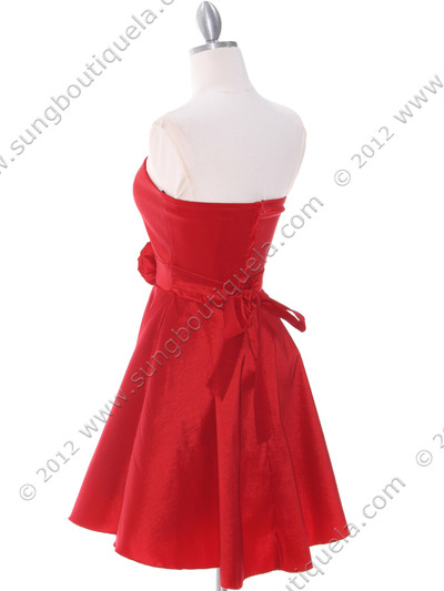 2152 Red Taffeta Cocktail Dress - Red, Back View Medium
