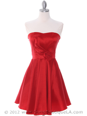 Red Taffeta Cocktail Dress - Front Image