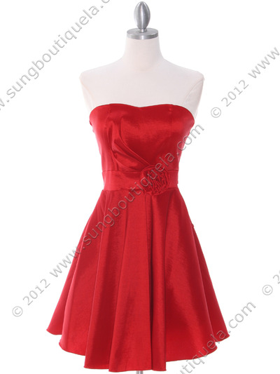 2152 Red Taffeta Cocktail Dress - Red, Front View Medium