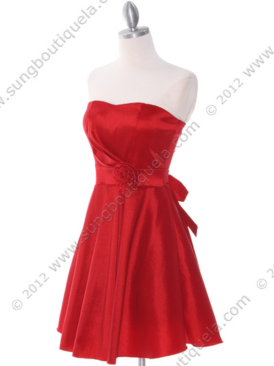 2152 Red Taffeta Cocktail Dress - Red, Alt View Medium