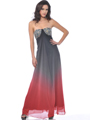 Red Black Strapless Jewel Embellished Chiffon Evening Dress - Front Image
