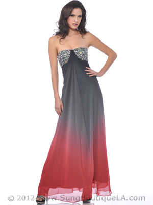 Strapless Jewel Embellished Chiffon Evening Dress - Front Image