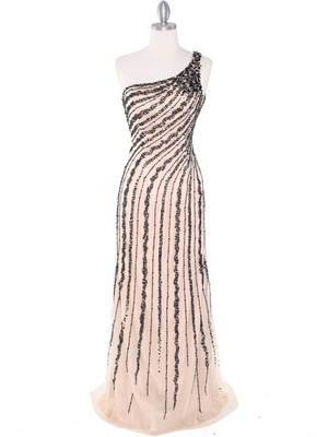 2163 Champagne Black Net Overlay Beaded Embroidery Long Evening Dress, Champagne