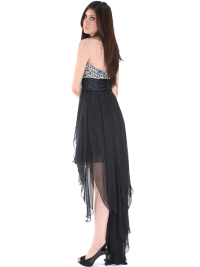 2264 Sequin Top Chiffon Cocktail Dress - Black, Back View Medium