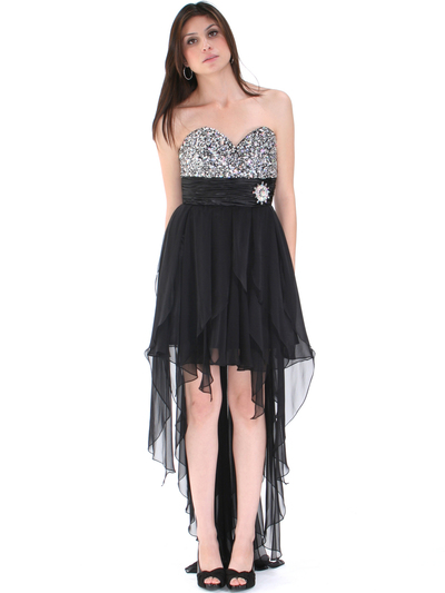 2264 Sequin Top Chiffon Cocktail Dress - Black, Front View Medium