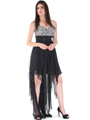 2264 Sequin Top Chiffon Cocktail Dress - Black, Alt View Thumbnail
