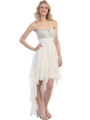 2264 Sequin Top Chiffon Cocktail Dress - Ivory, Front View Thumbnail