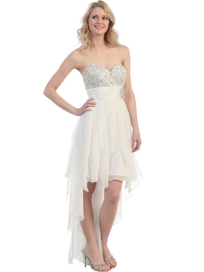2264 Sequin Top Chiffon Cocktail Dress - Ivory, Front View Medium