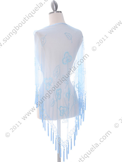 2288 Baby Blue Lace Beaded Shawl - Baby Blue, Back View Medium
