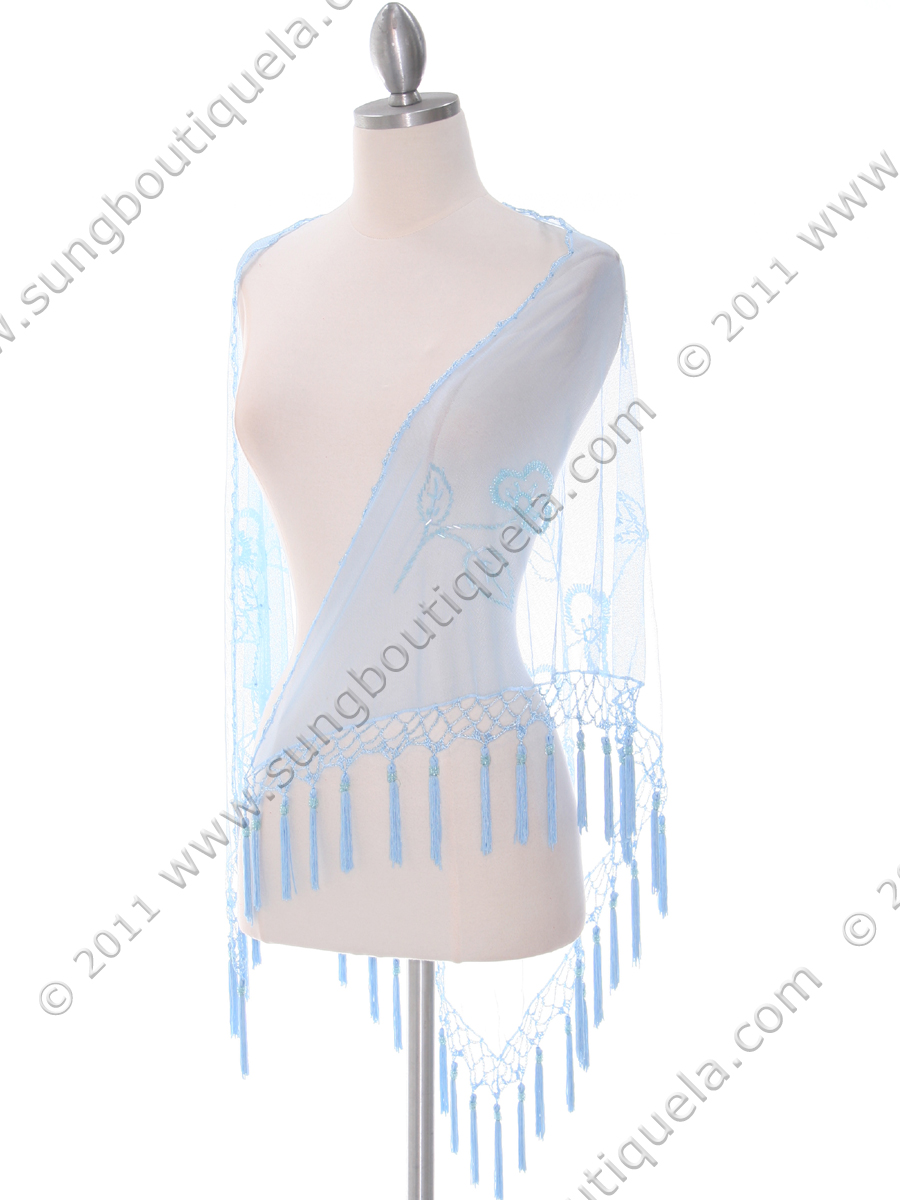2288 Baby Blue Lace Beaded Shawl - Front Image