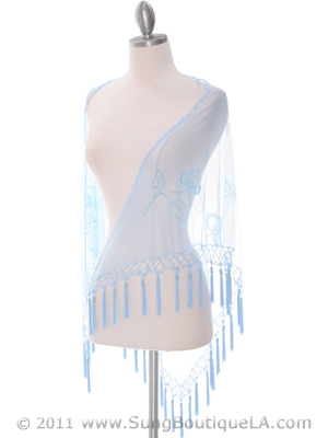 2288 Baby Blue Lace Beaded Shawl, Baby Blue