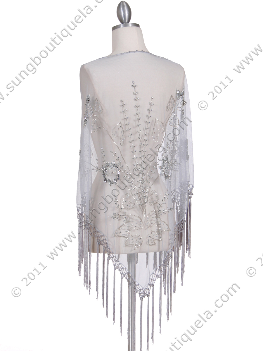 ... 2288 Silver Lace Beaded Shawl - Silver, Back View Medium