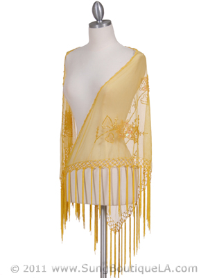 2288 Yellow Lace Beaded Shawl, Yellow