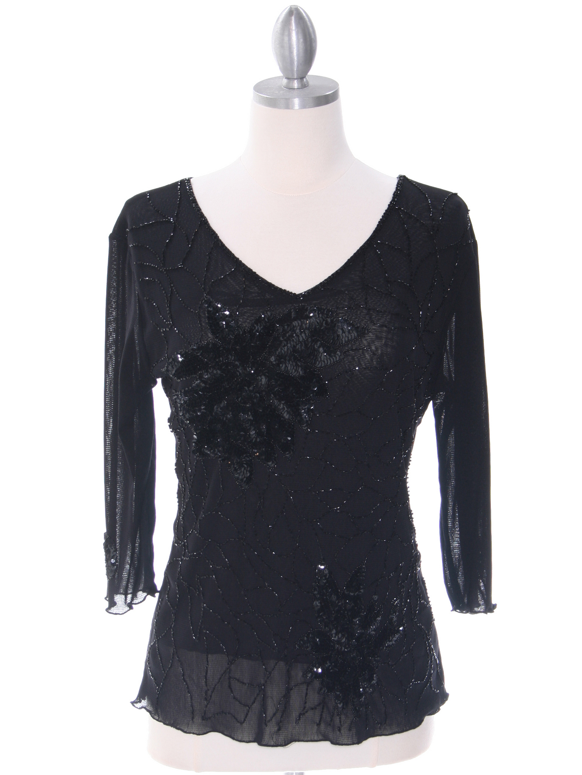 2289 Black Beaded Top - Front Image