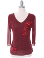 2289 Deep Red Beaded Top
