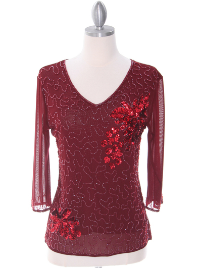 2289 Deep Red Beaded Top - Deep Red, Front View Medium