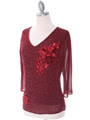 2289 Deep Red Beaded Top - Deep Red, Alt View Thumbnail