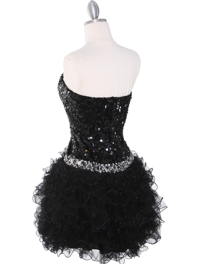 2302 Sweetheart Sequin Cocktail Dress - Black, Back View Medium