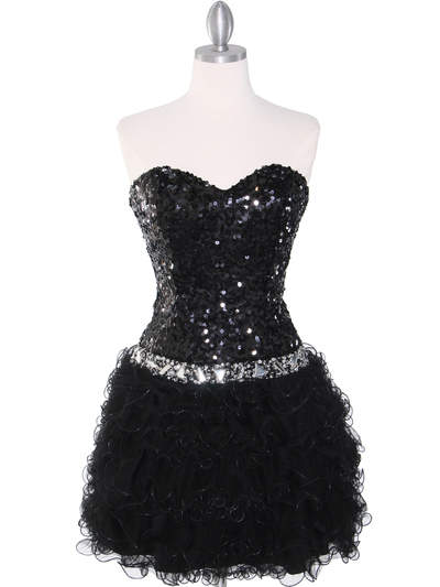 2302 Sweetheart Sequin Cocktail Dress - Black, Front View Medium