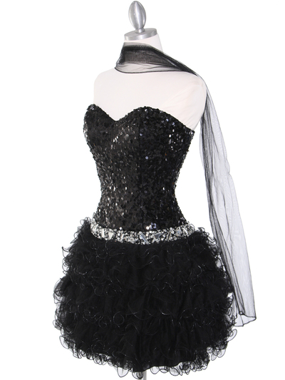 2302 Sweetheart Sequin Cocktail Dress - Black, Alt View Medium