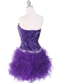 2302 Sweetheart Sequin Cocktail Dress - Purple, Back View Thumbnail