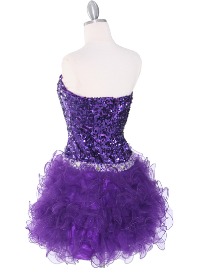 2302 Sweetheart Sequin Cocktail Dress - Purple, Back View Medium