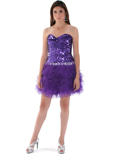 2302 Sweetheart Sequin Cocktail Dress - Purple, Front View Medium