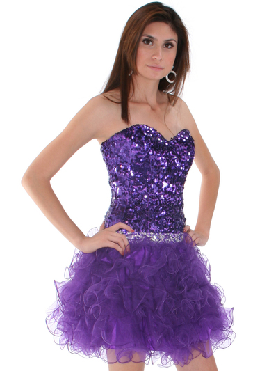 2302 Sweetheart Sequin Cocktail Dress - Purple, Alt View Medium
