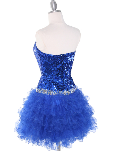 2302 Sweetheart Sequin Cocktail Dress - Royal Blue, Back View Medium