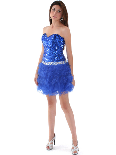 2302 Sweetheart Sequin Cocktail Dress - Royal Blue, Front View Medium