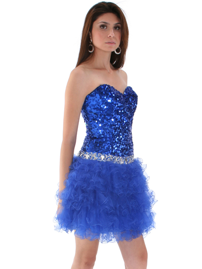 2302 Sweetheart Sequin Cocktail Dress - Royal Blue, Alt View Medium