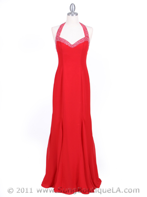 23100 Red Beaded Halter Evening Dress, Red