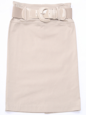 2332 Beige Mid Length Pencil Skirt with Belt, Beige