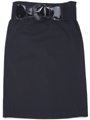 2332 Black Mid Length Pencil Skirt with Belt - Black, Front View Thumbnail