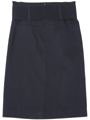2332 Black Mid Length Pencil Skirt with Belt - Black, Back View Thumbnail