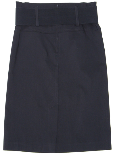 2332 Black Mid Length Pencil Skirt with Belt - Black, Back View Medium