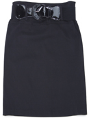 Black Mid Length Pencil Skirt with Belt