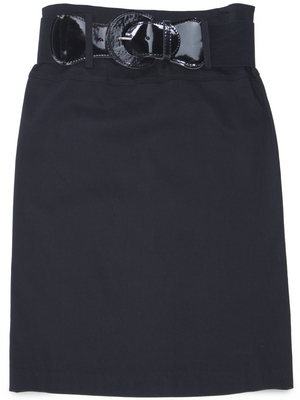 2332 Black Mid Length Pencil Skirt with Belt, Black