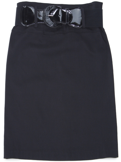 2332 Black Mid Length Pencil Skirt with Belt - Black, Front View Medium