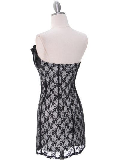 2581 Black Satin Top Lace Party Dress - Black, Back View Medium