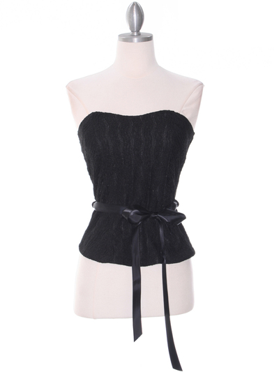 2749 Black Lace Strapless Top - Black, Front View Medium