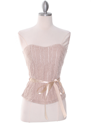 2749 Mocha Lace Strapless Top, Mocha