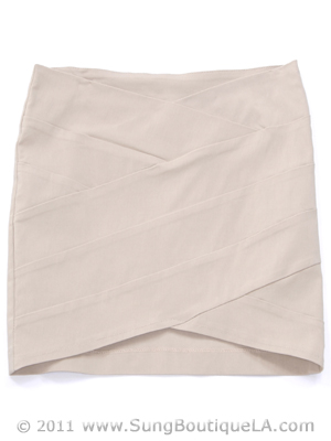 Beige Mini Skirt - Front Image