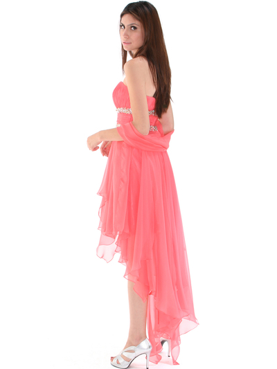 2274 Strapless High Low Cocktail Dress - Coral, Back View Medium